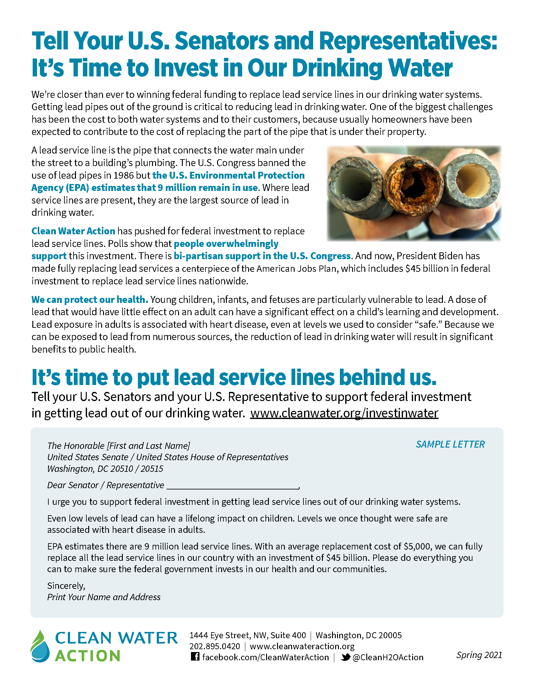 Fact sheet and action alert -- invest in our drinking water