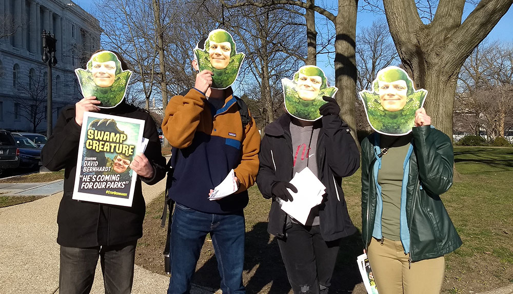 Clean Water Canvassers in Bernhardt swamp creature masks
