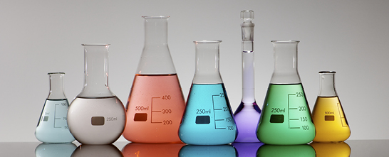 Liquid in beakers