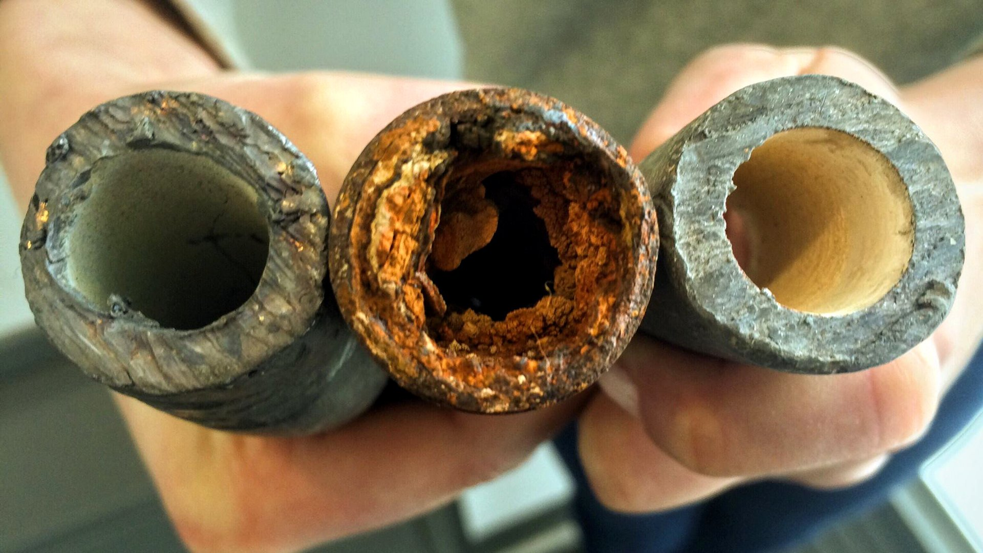 Corroded lead pipes