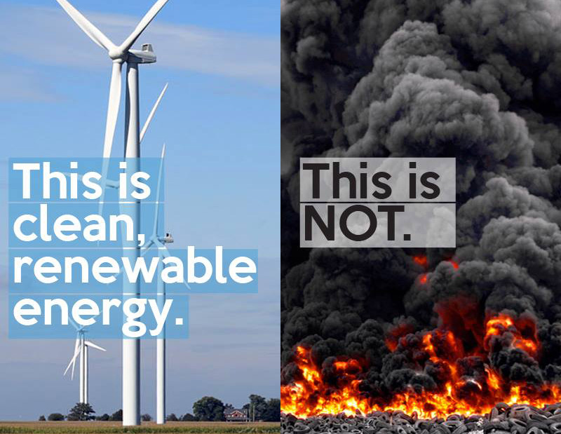 Burning Tires is NOT Clean Energy!