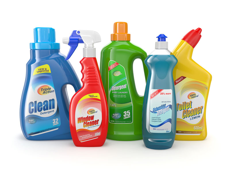 Cleaning product bottles. Photo credit: Maxx-Studio / Shutterstock