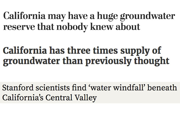 Recent headlines on California Groundwater