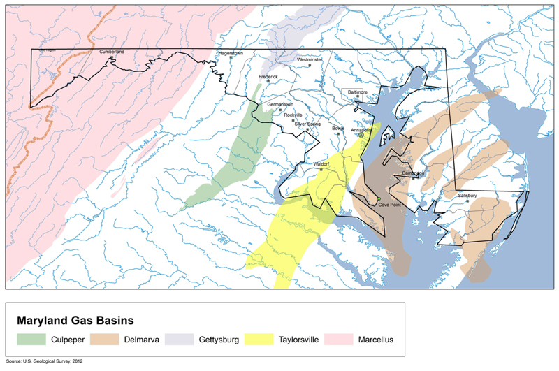 Maryland Gas Basins. Source USGS