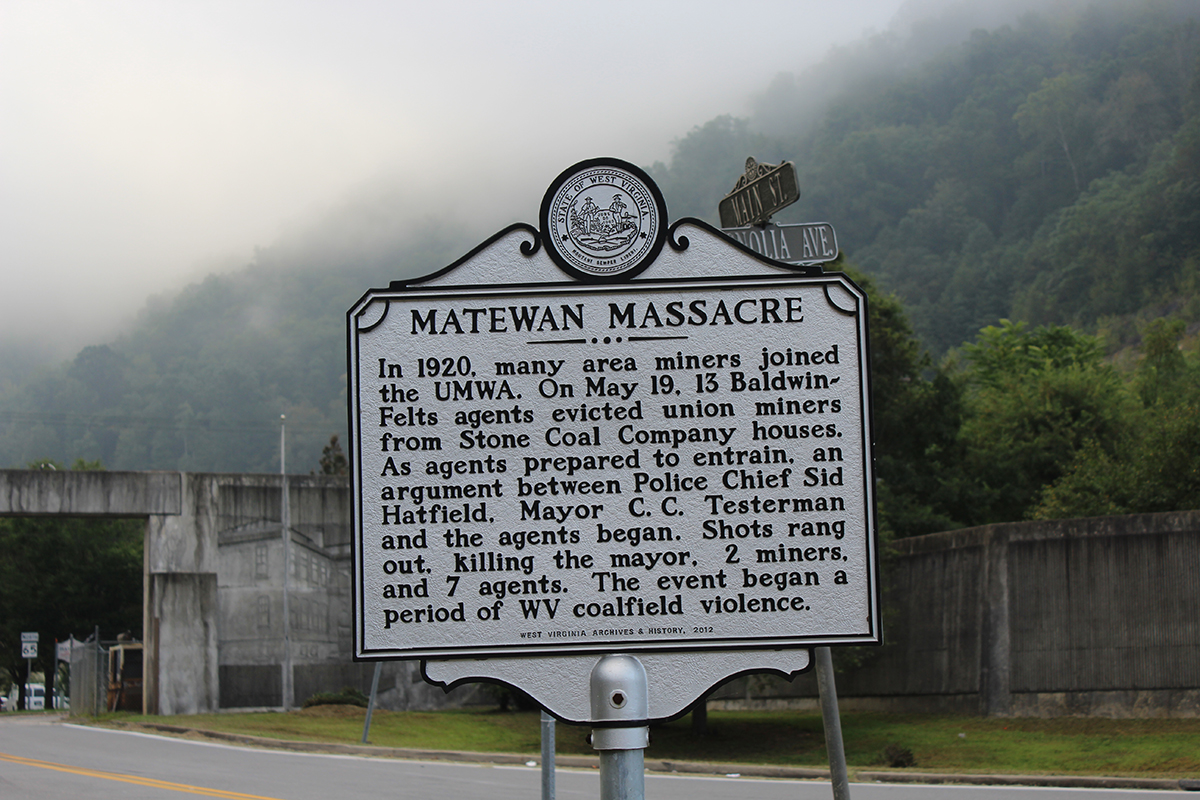 Matewan Massacre marker, Matewan, WV. photo: NDB