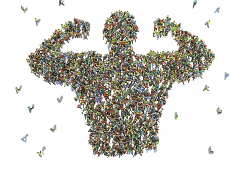 Large group of people as seen from above. Credit: Stockernumber2 / iStock