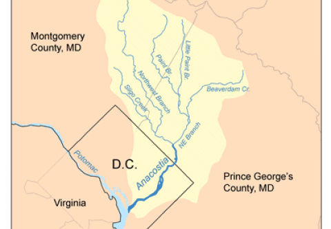 Map of the Anacostia River in Washington DC and Maryland