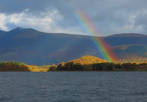Rainbow over a lake