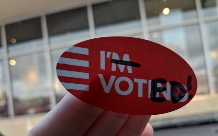 """A """"I'm Voting"""" sticker edited to read """"I Voted!"""""""