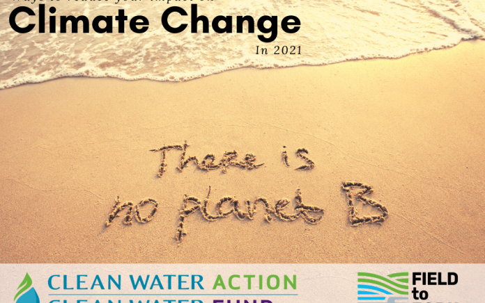 """""""There is No Planet B"""" written in sand along wateredge. Caption: Ways to reduce your impact on Clima"""