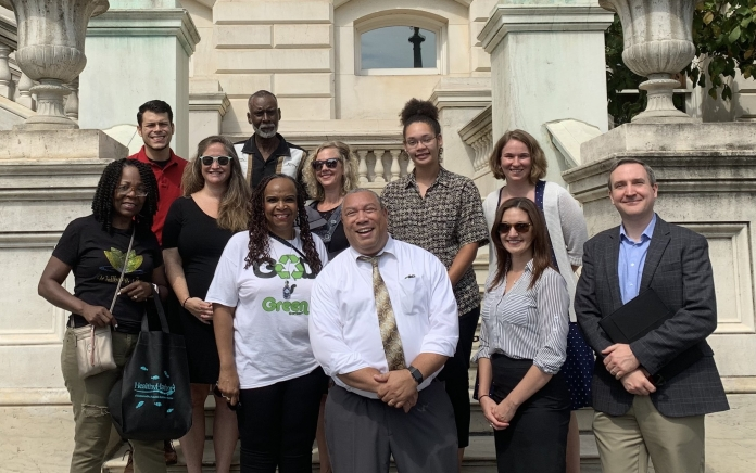 Baltimore City Councilman Bill Henry, residents, and advocates in front of City Hall after the Plastic Bag Reduction Bill public hearing.