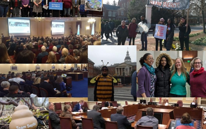 A collage of photos of Clean Water Action's work in the 2020 Maryland General Assembly.