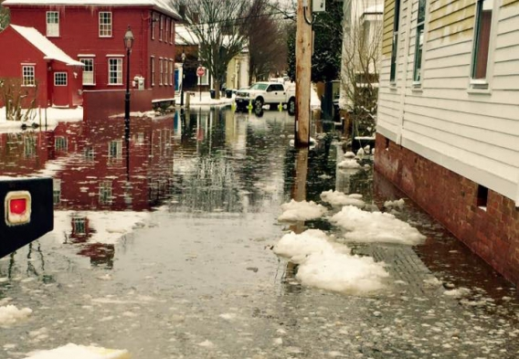 Flooding in the Point Neighborhood in Newport RI - February 2016. Photo credit: Lauren Carson / Clean Water Action