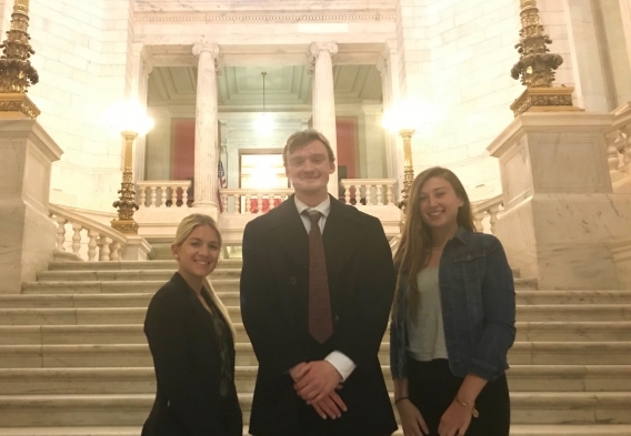 Rhode Island_CleanWaterAction_CWA interns Nicole, Alex, and Erin visit the RI State House for a bill hearing earlier this session