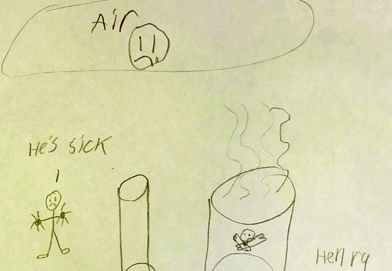 Child's drawing to EPA about methane