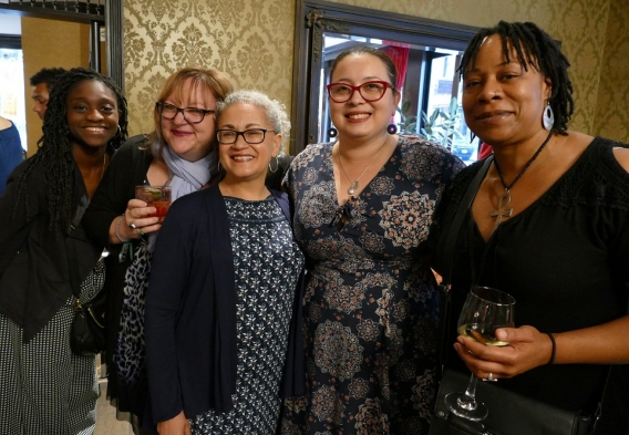 Andrea Nyamekye, Cindy Luppi, Elena Letona, Isabel Gonzalez-Webster, and Khalida Smalls at our Spring for Water Benefit in 2018.